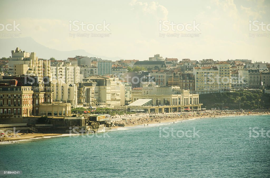 Biarritz at sunset stock photo