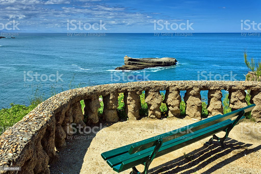 Biarritz, Biscay: View onto atlantic ocean near the Grande Plage stock photo