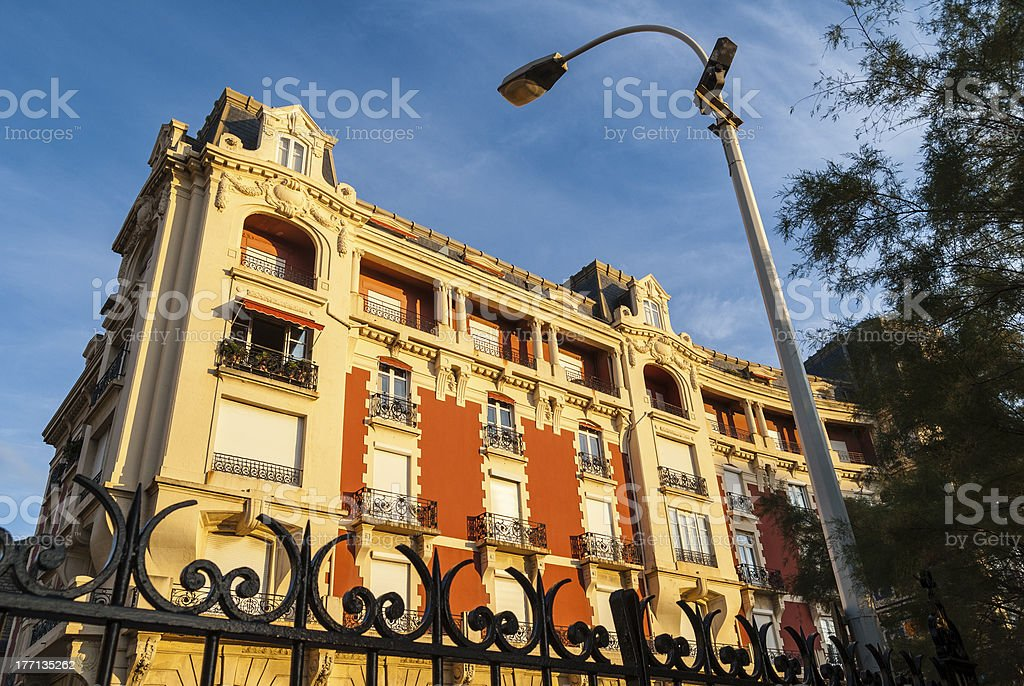 Biarritz, France: fashionable apartment block at sunset royalty-free stock photo