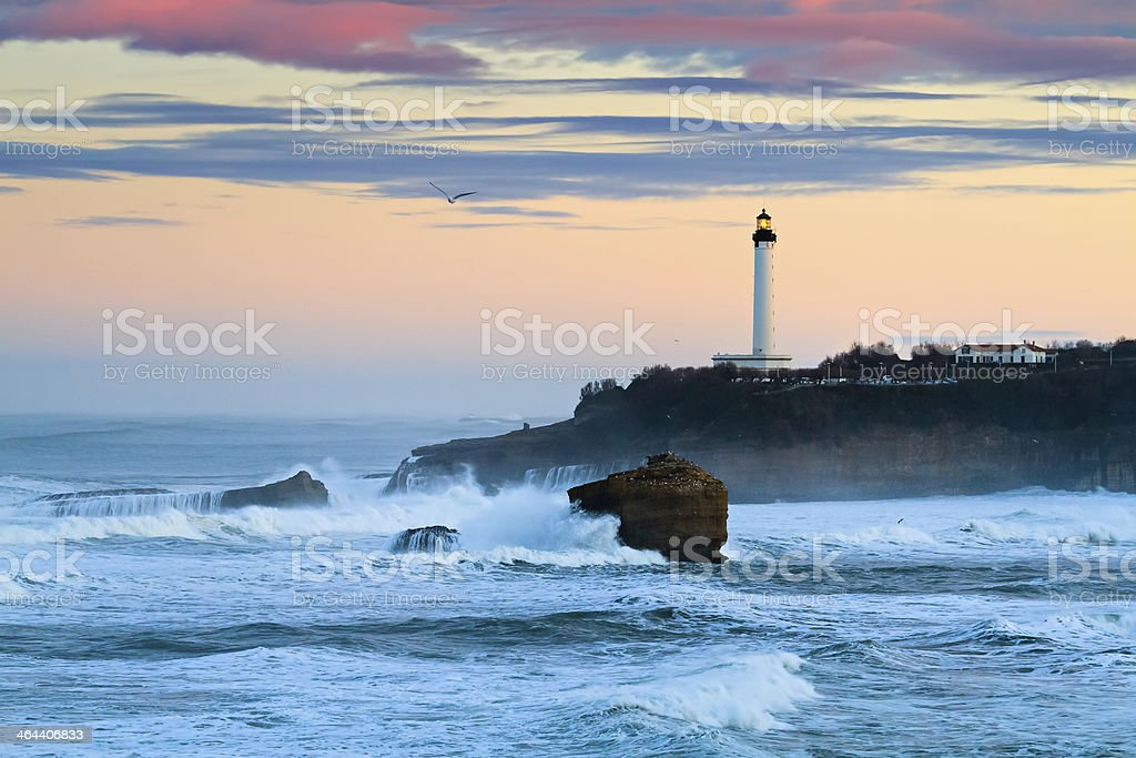 Biarritz Lighthouse in the Storm stock photo