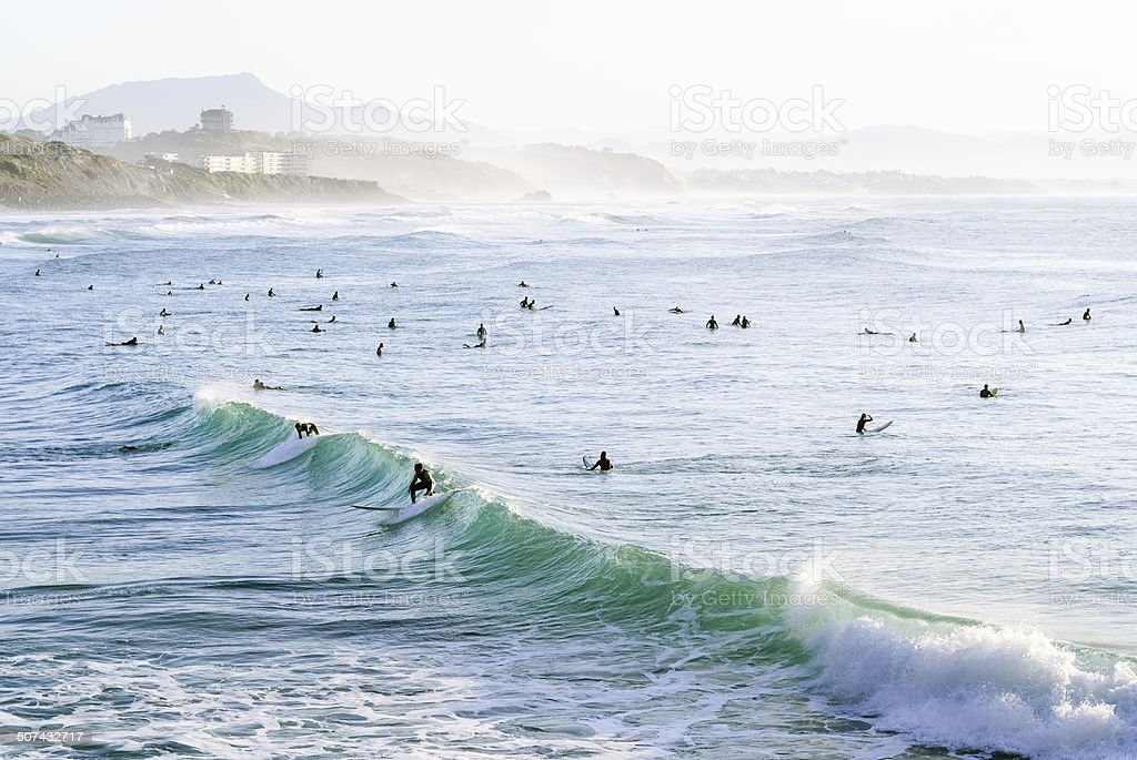 Biarritz: surfers stock photo
