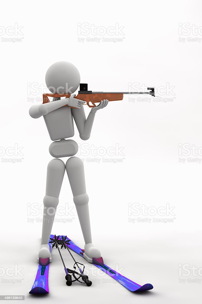 biathlete standing aiming at a target stock photo