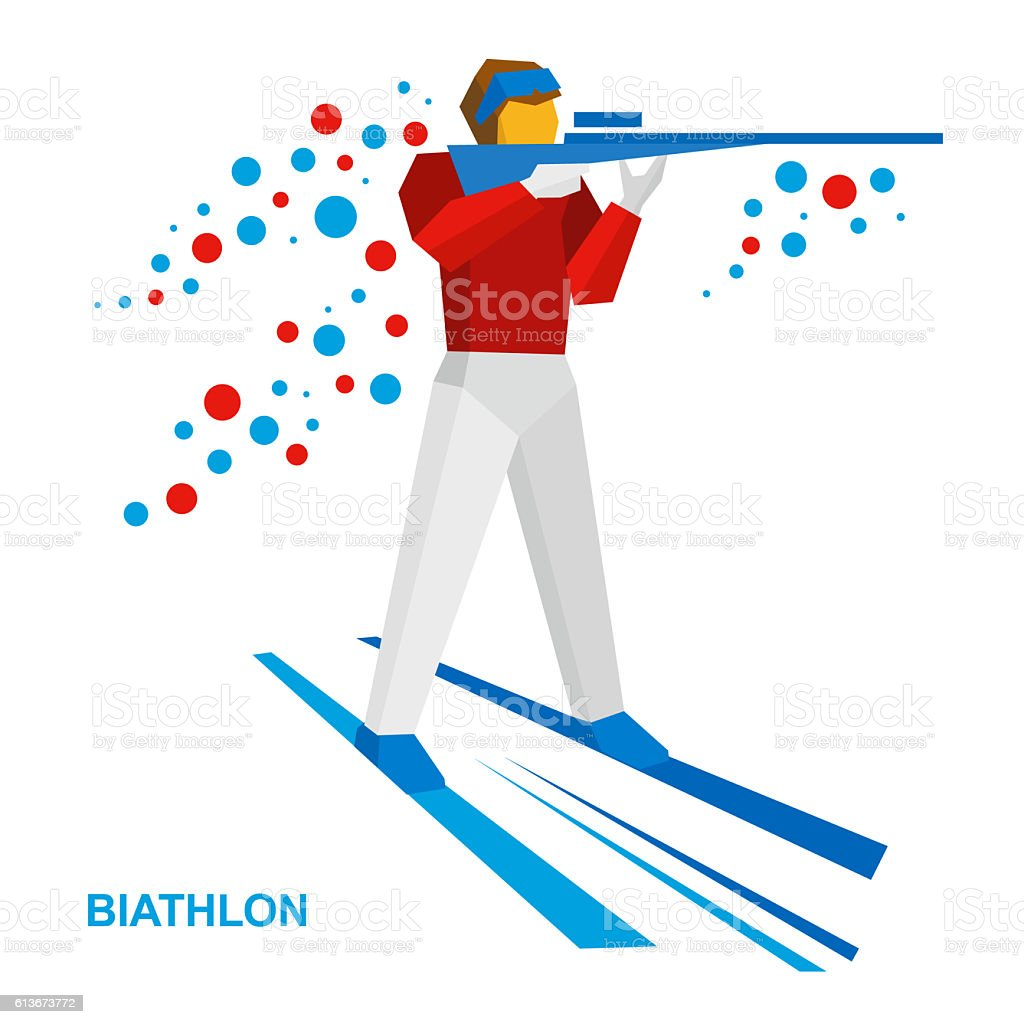 Biathlon. Cartoon biathlete shoots a rifle standing on skis stock photo