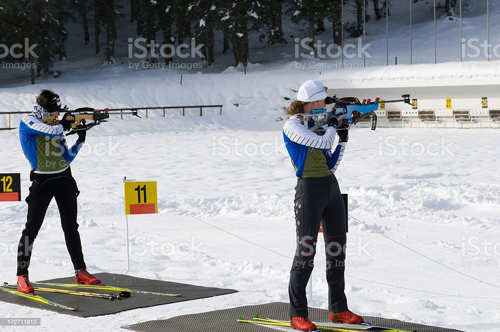 Biathlon competition stock photo