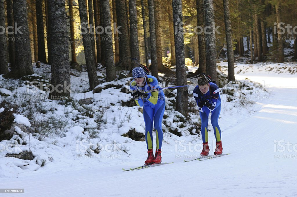 Biathlon practice royalty-free stock photo