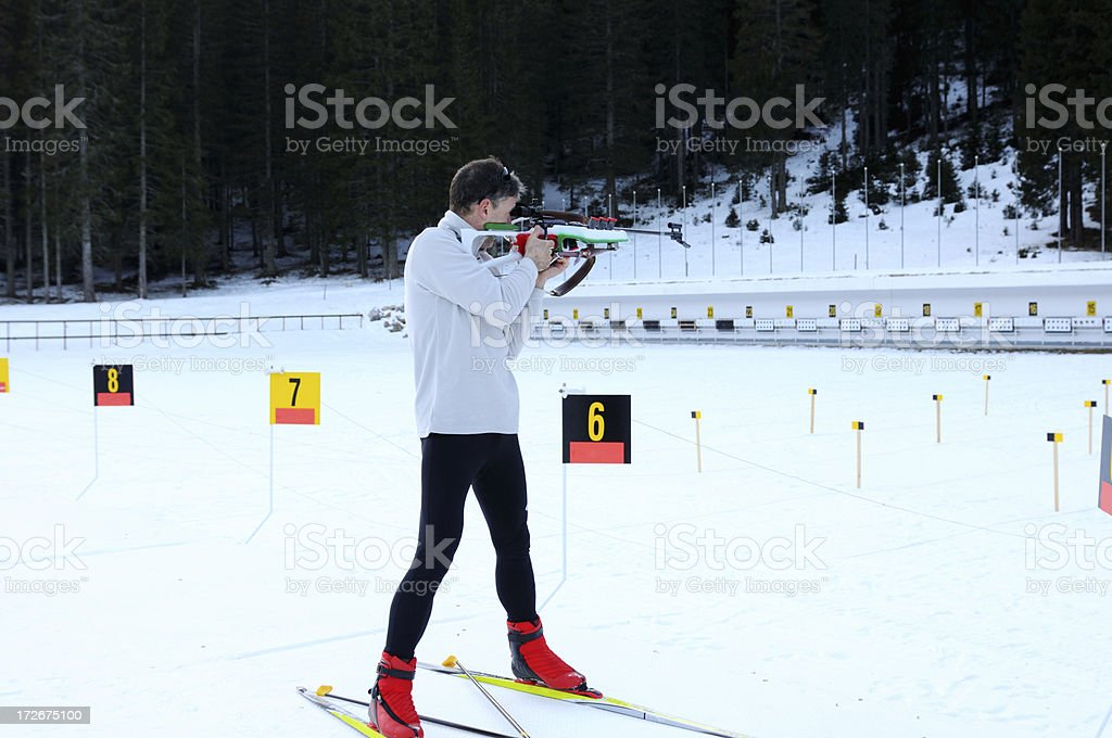 Biathlon shooting royalty-free stock photo