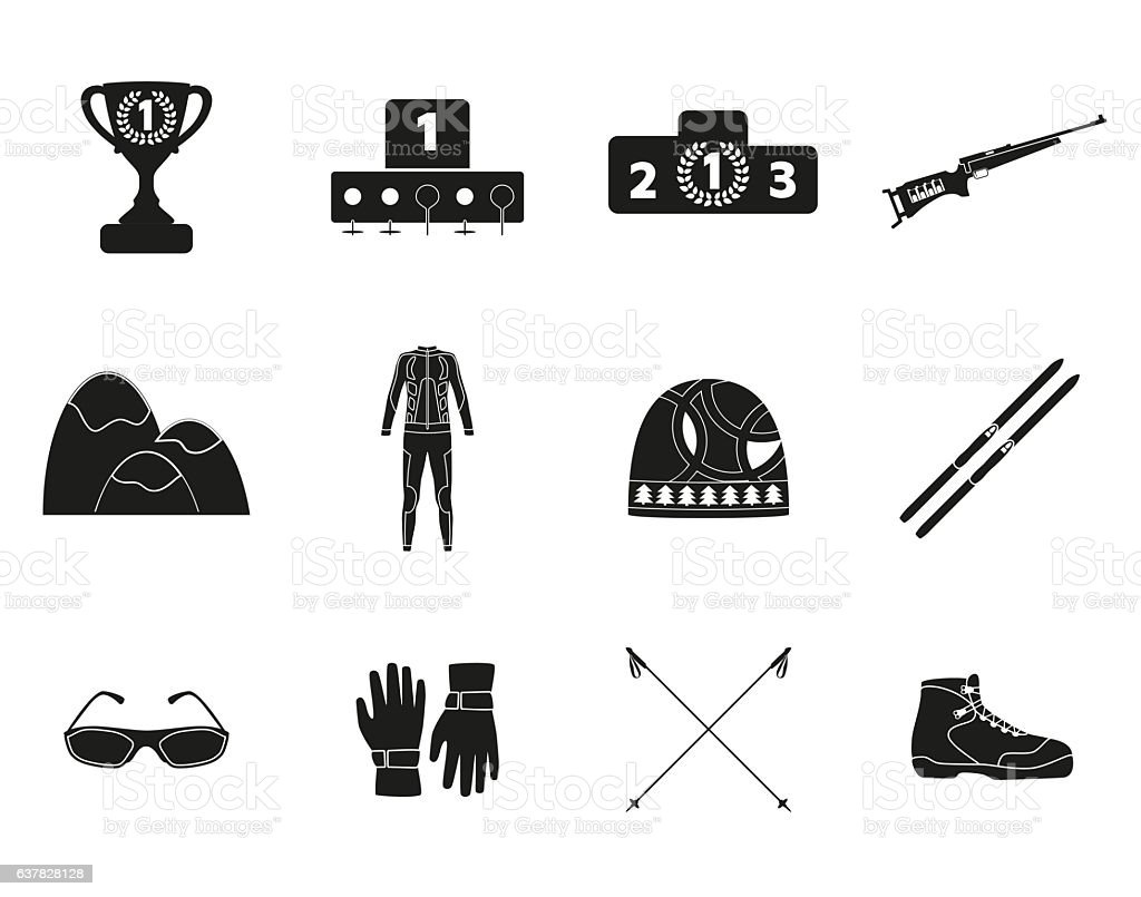 Biathlon. Silhouette icon set of equipment, wear and shoes. stock photo