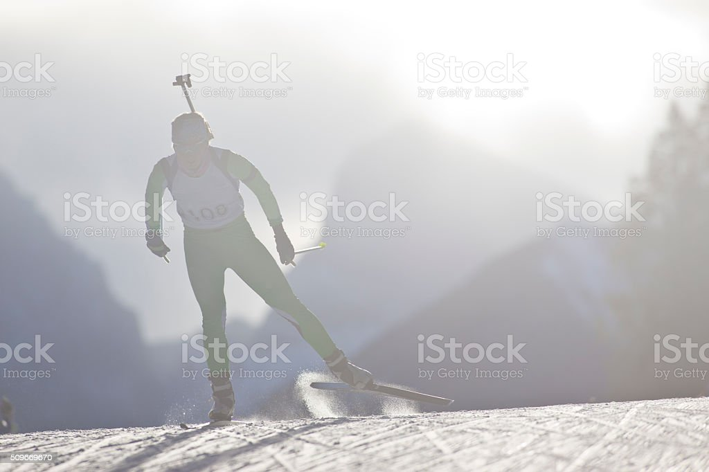 Biathlon Ski Racer Girl stock photo