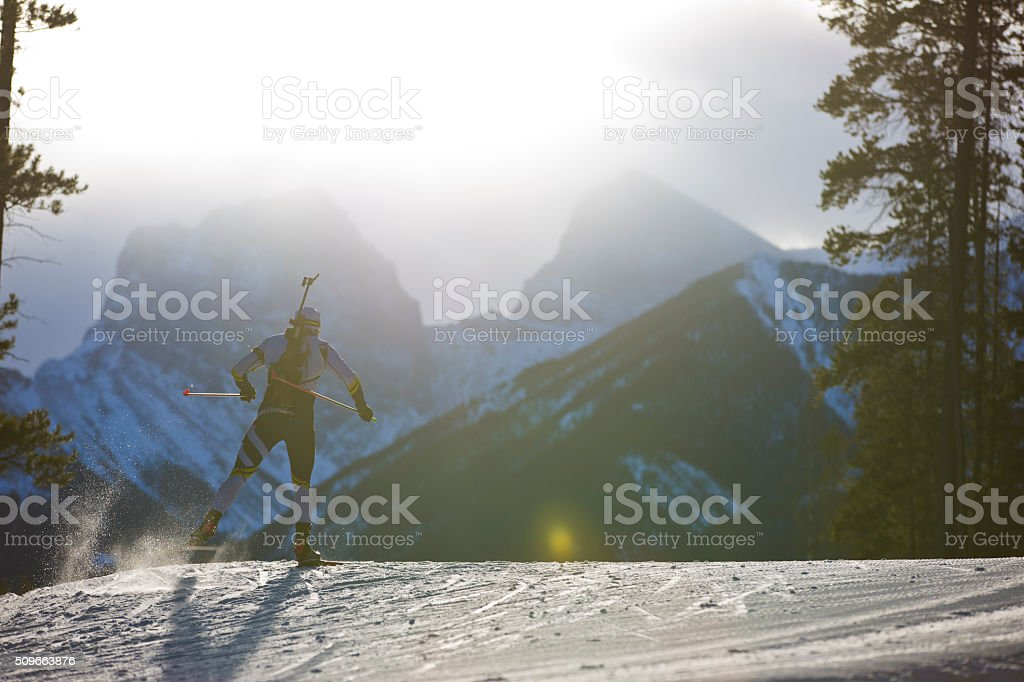 Biathlon Ski Racer stock photo