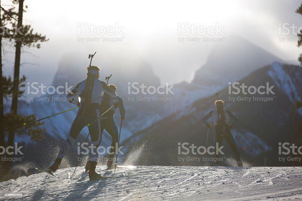 Biathlon Ski Racers stock photo