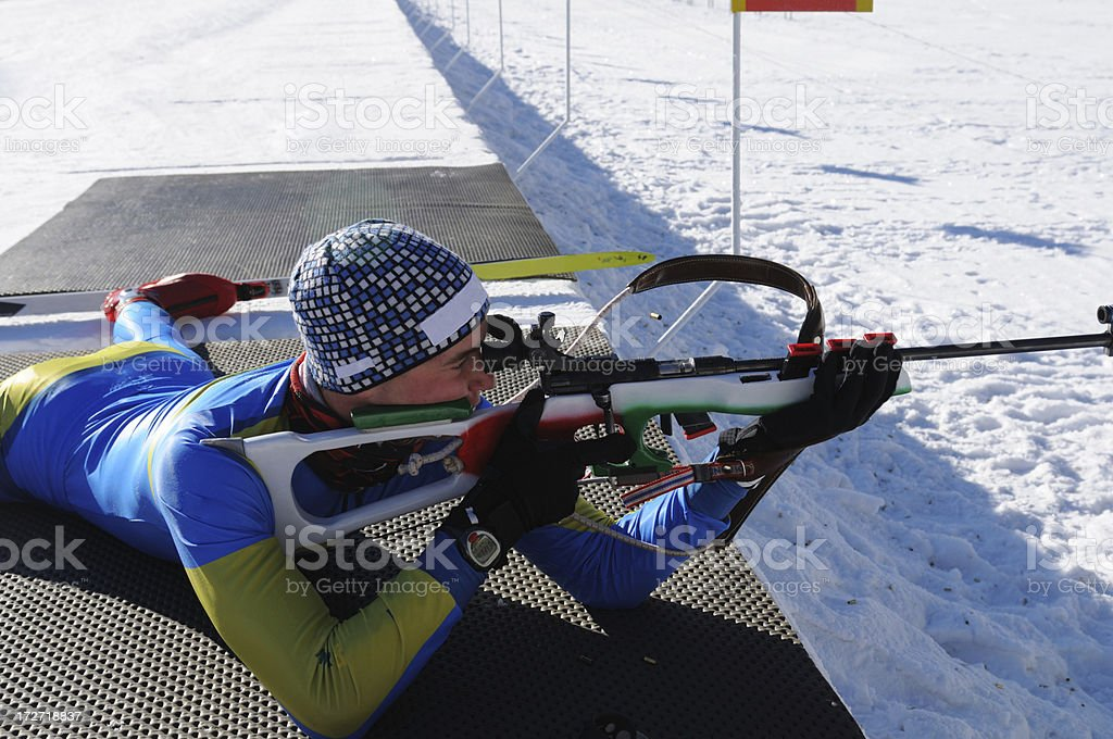 Biathlon target shooting stock photo