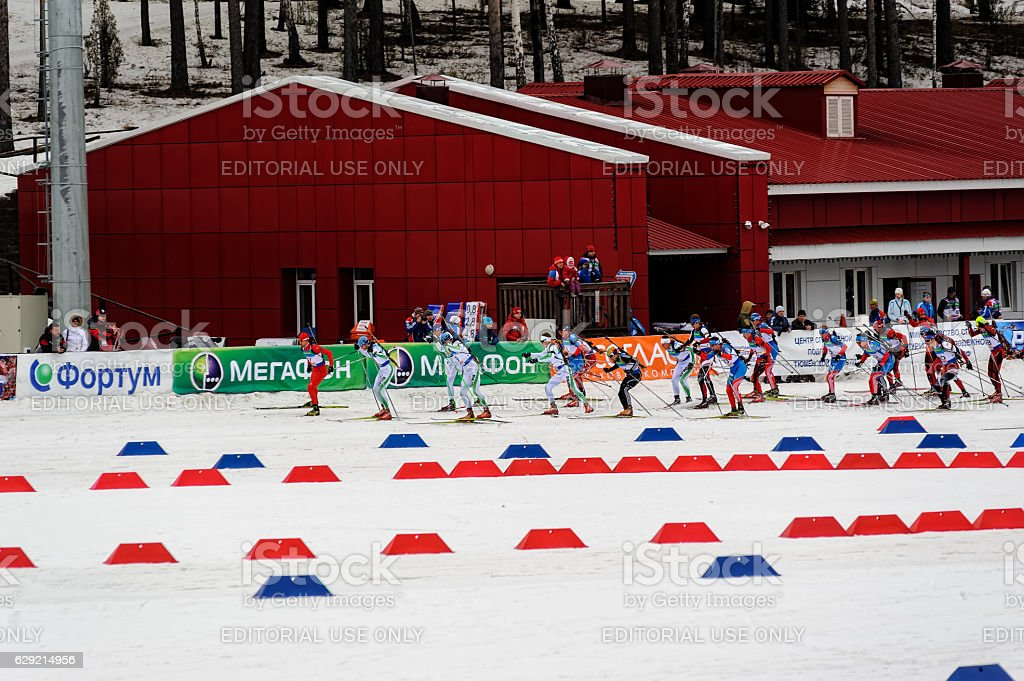 Biathlon the Race of Champions in Tyumen. Russia stock photo