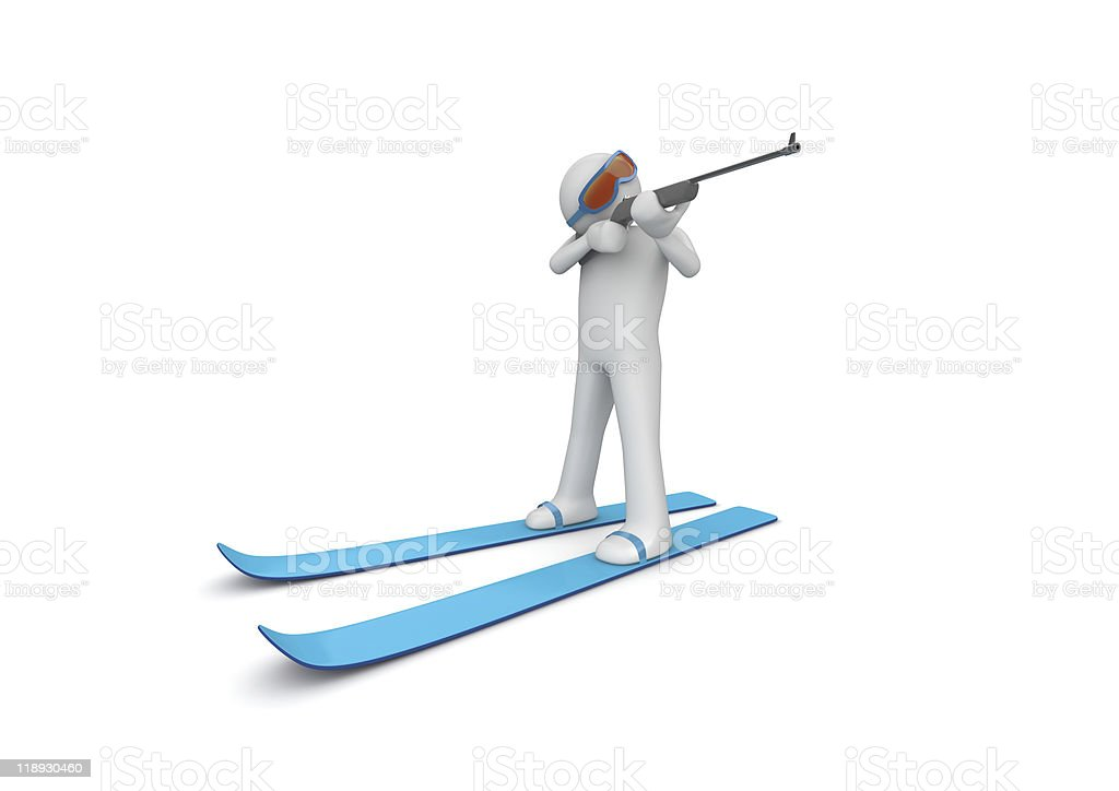 Biathlonist aiming royalty-free stock photo