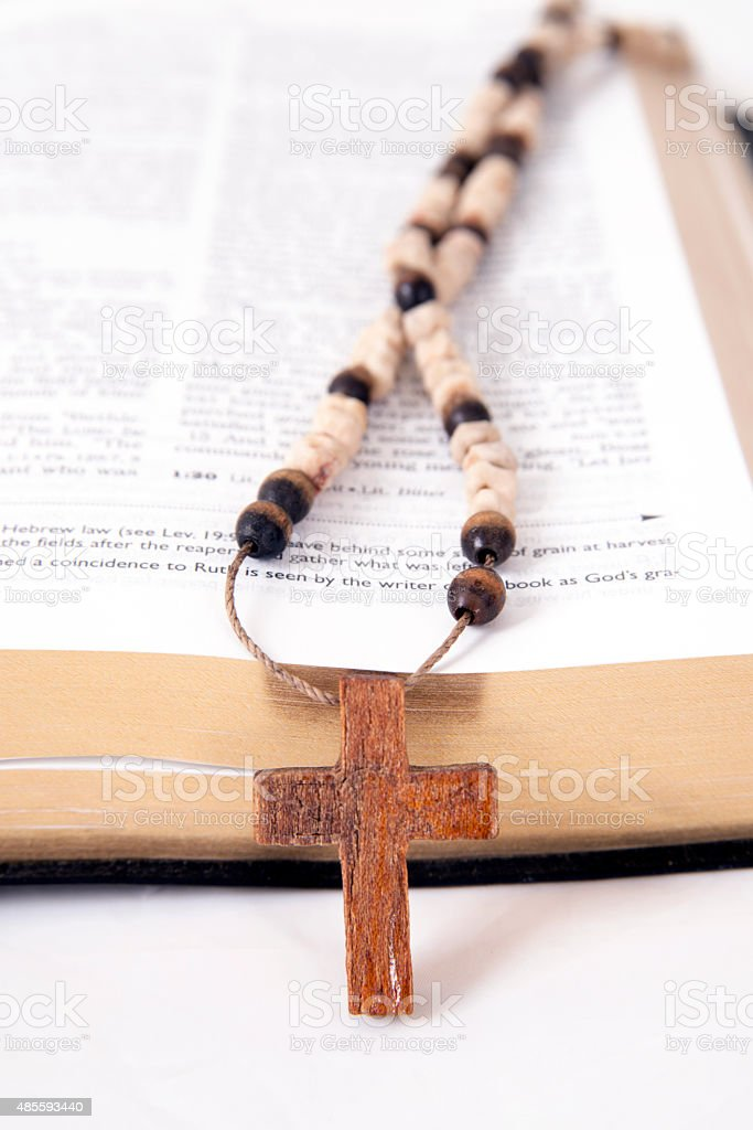 bible and a cross stock photo