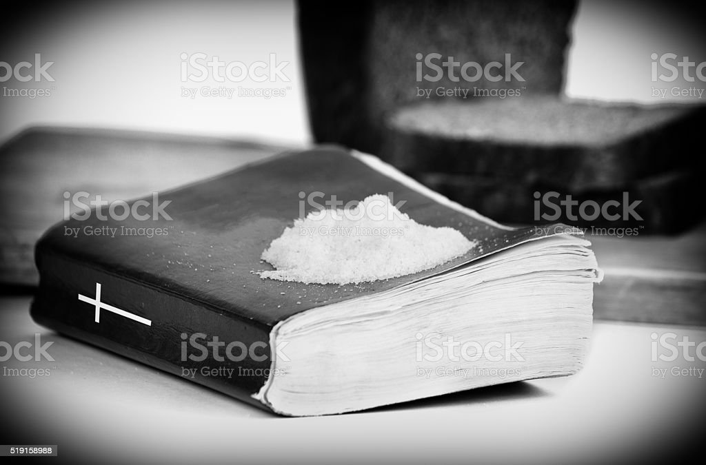 Bible and bread stock photo