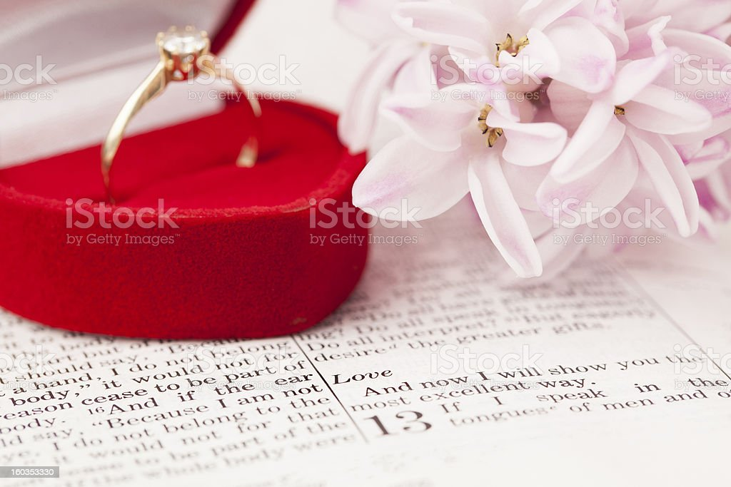 Bible and engagement ring stock photo
