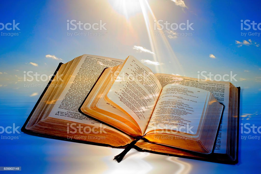 Bible and Sun Flare stock photo