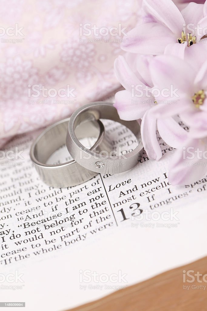 Bible and wedding rings stock photo