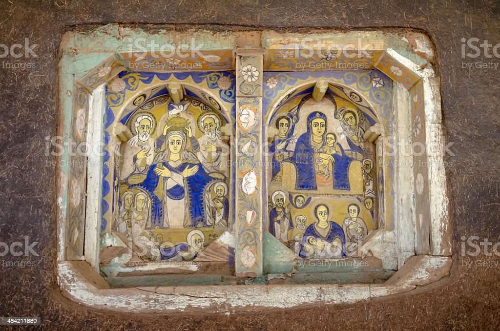 Bible Art in Ura Kidane Mihret Church stock photo