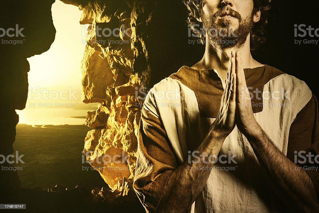 Bible Character Praying stock photo