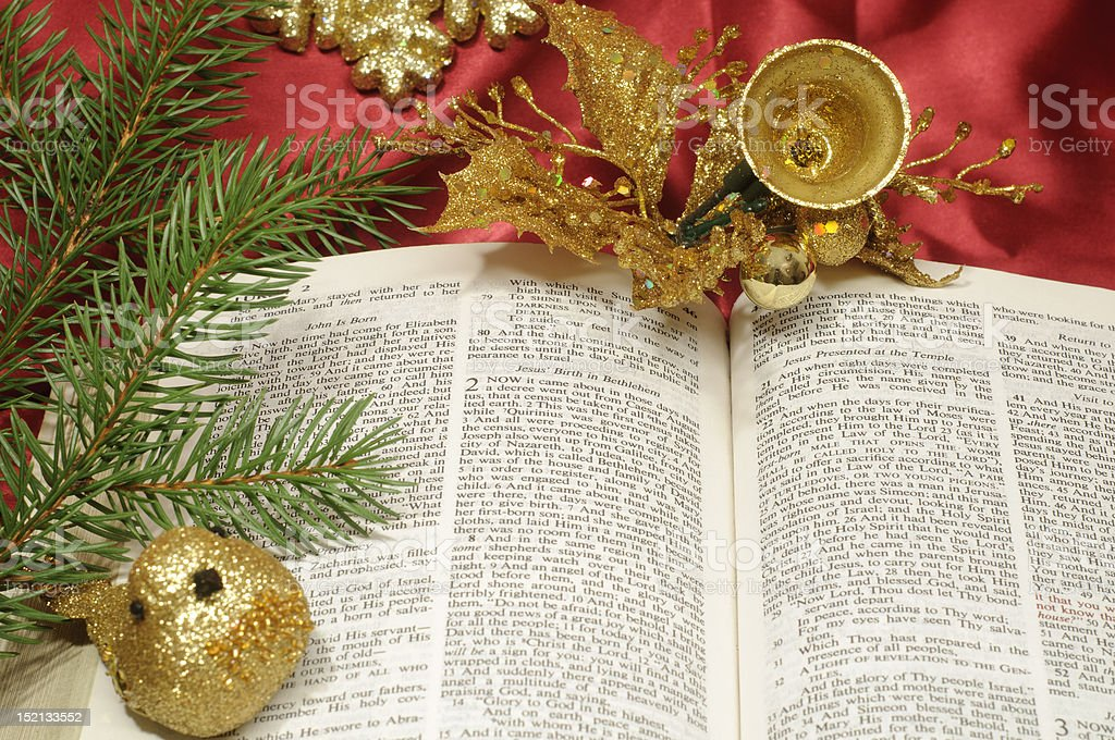 Bible Christmas trimmings royalty-free stock photo