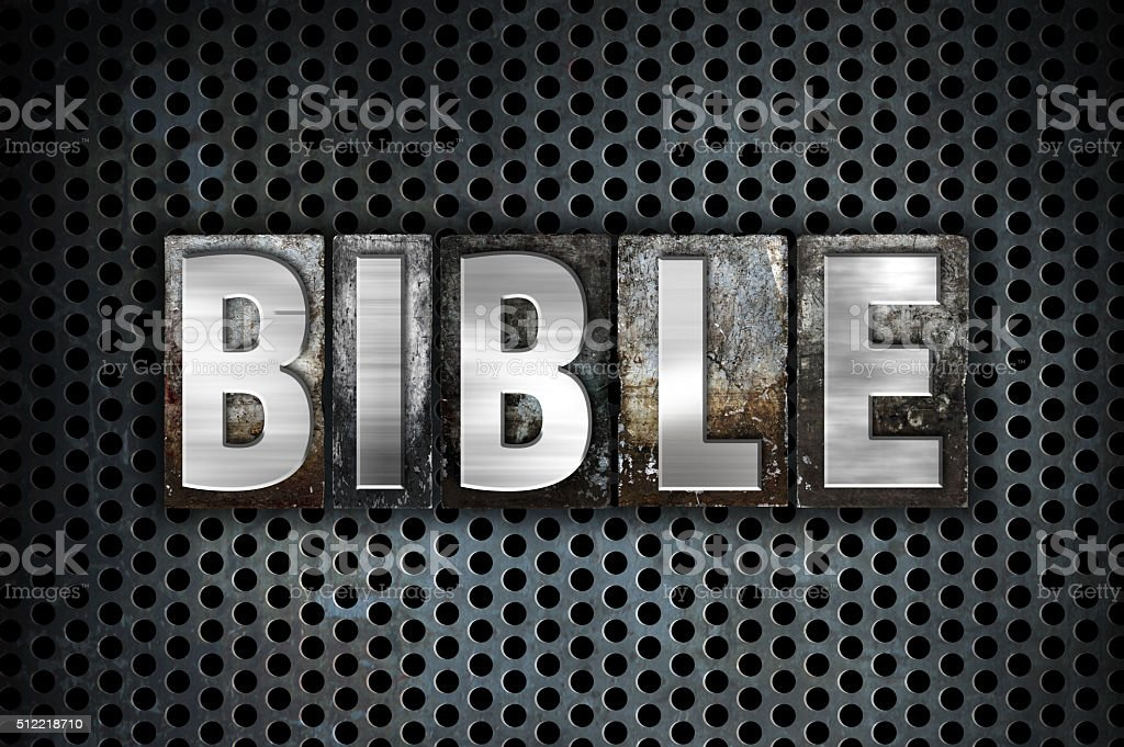 Bible Concept Metal Letterpress Type stock photo