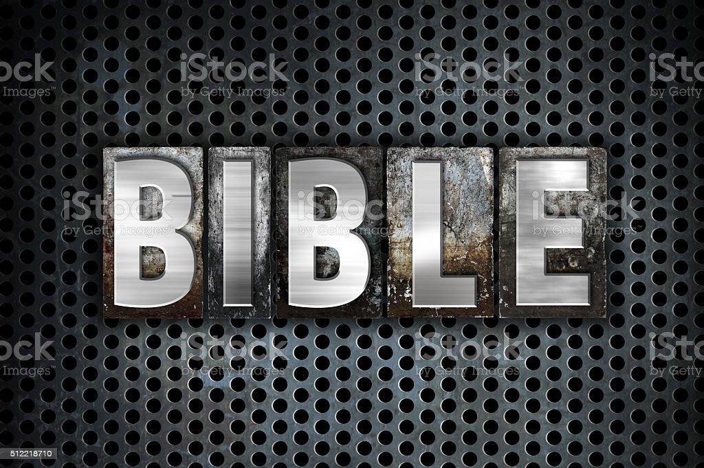 Bible Concept Metal Letterpress Type stock photo
