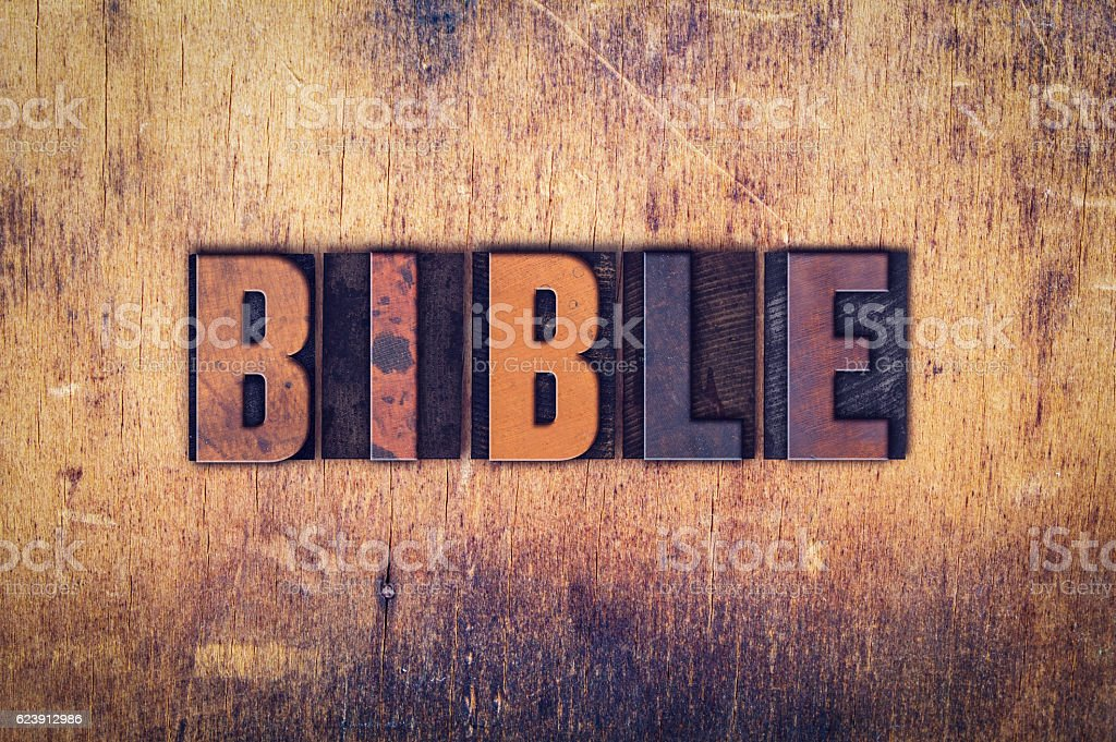 Bible Concept Wooden Letterpress Type stock photo