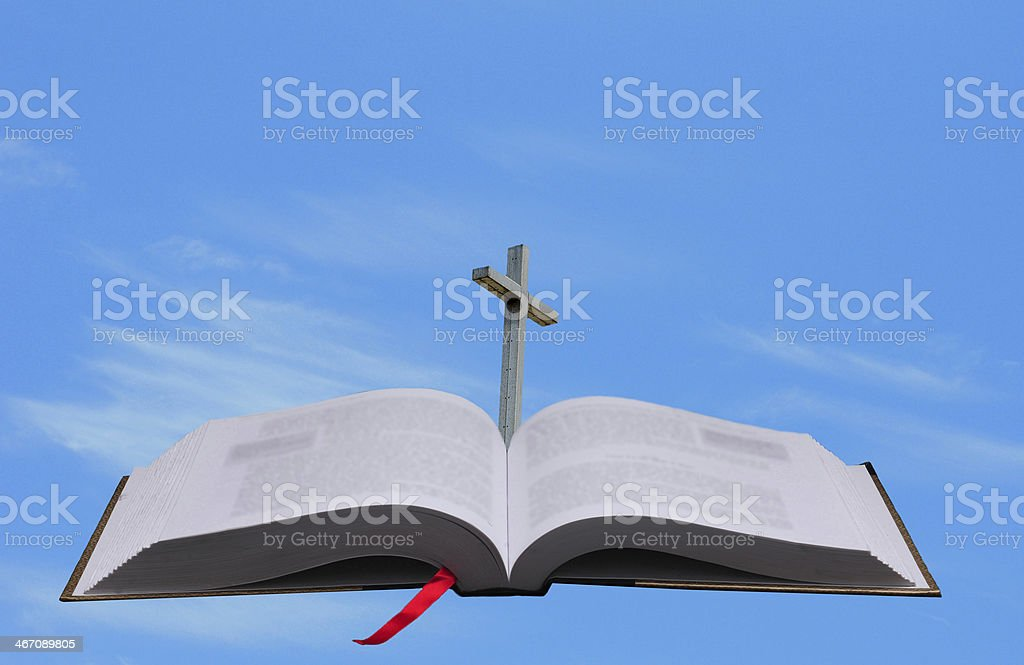 bible, cross and heaven conept royalty-free stock photo