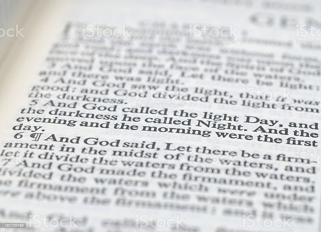 bible - first day stock photo