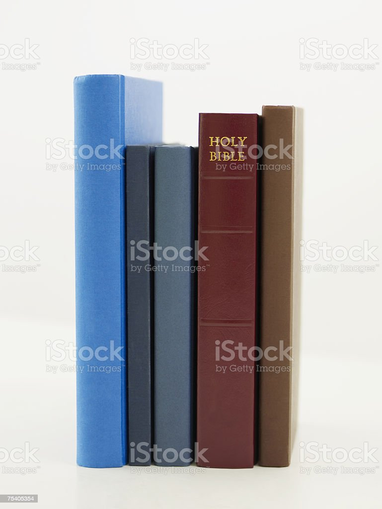 Bible in a row of books royalty-free stock photo