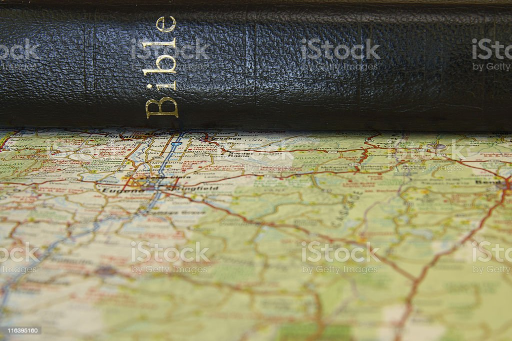 Bible On A Roadmap Series stock photo