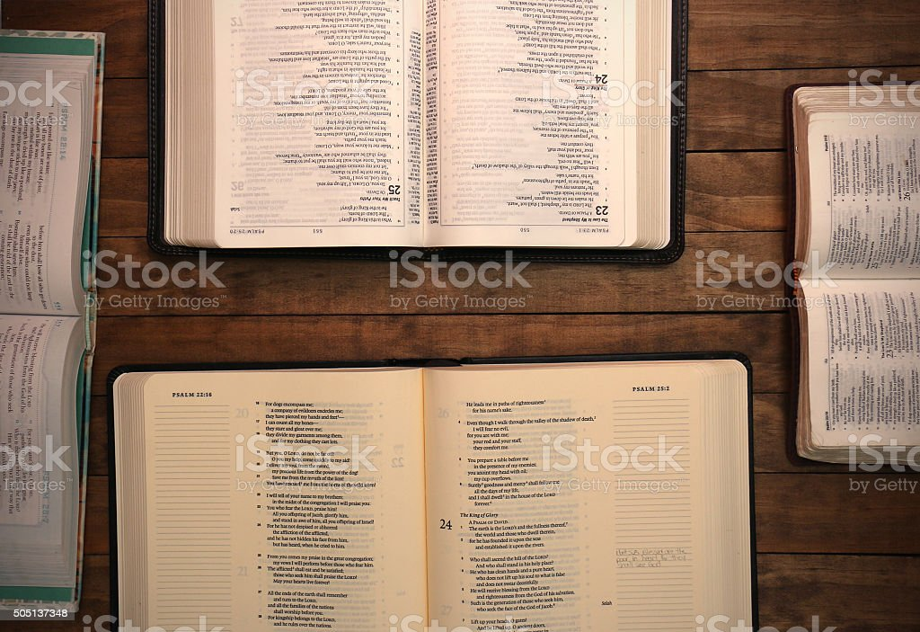 Bible on a Wooden Table stock photo