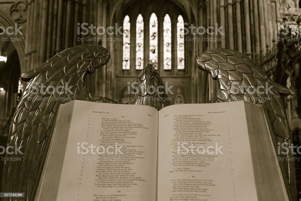 Bible on lectern (eagle) in Lichfield Cathedral stock photo