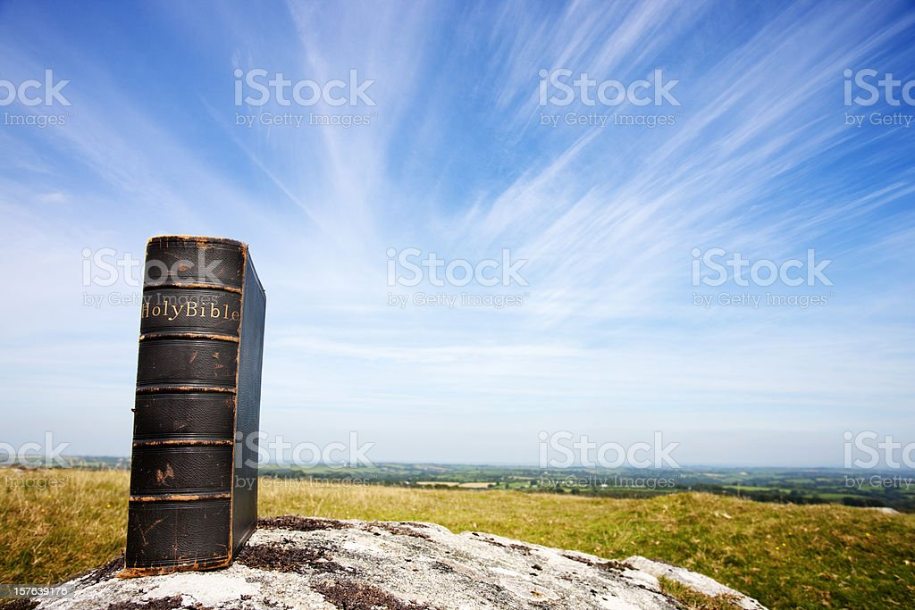 Bible on moorland stock photo