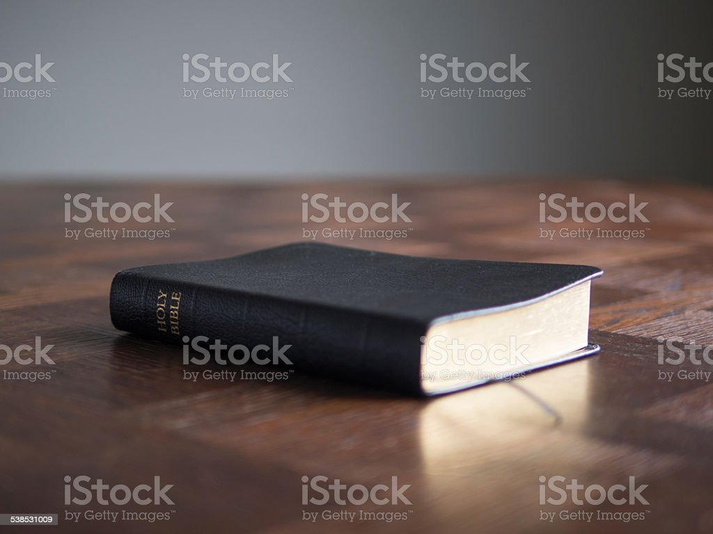 Bible On Vintage Table stock photo