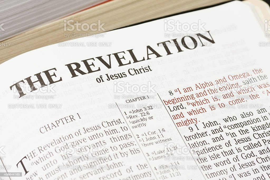 Bible Open to Revelation stock photo
