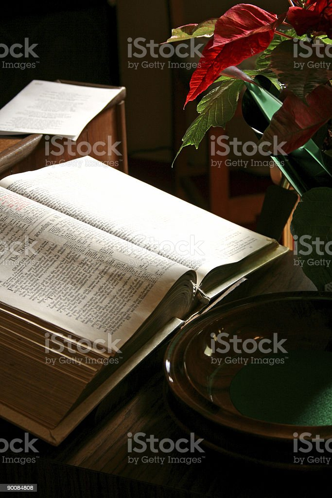Bible open with Offering Bowl royalty-free stock photo