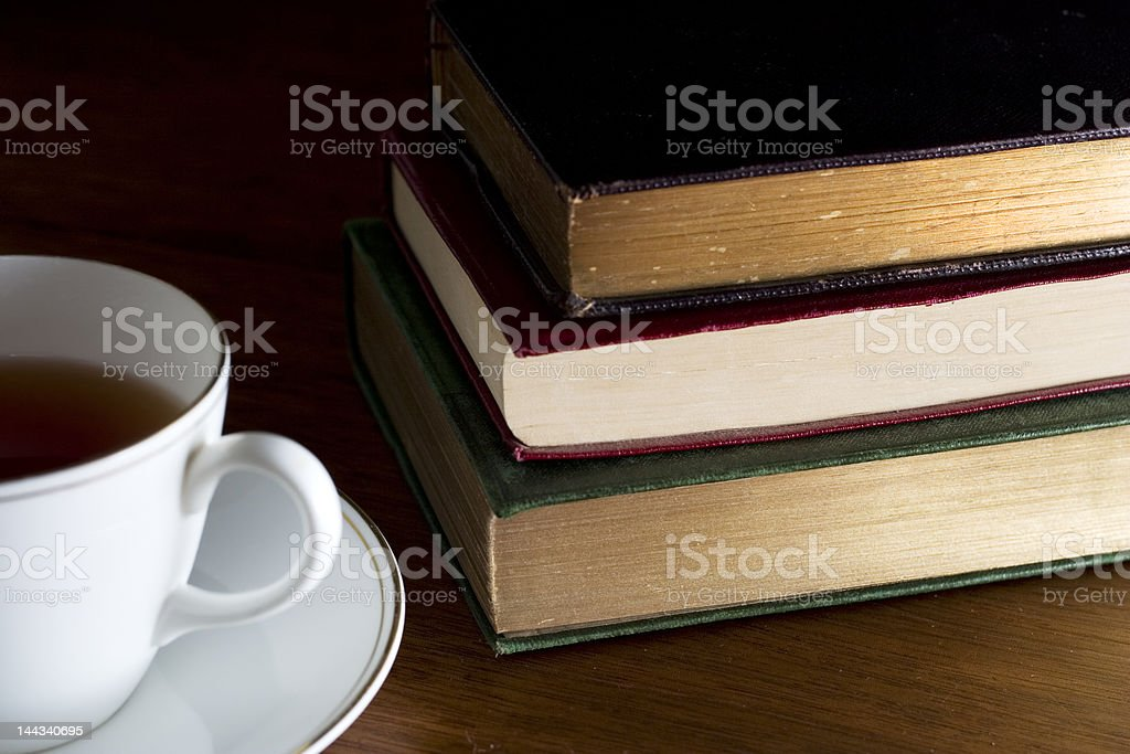 Bible or study session with tea and books stock photo