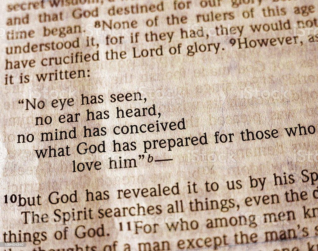 Bible Passage - 1 Corinthians 2:9 stock photo