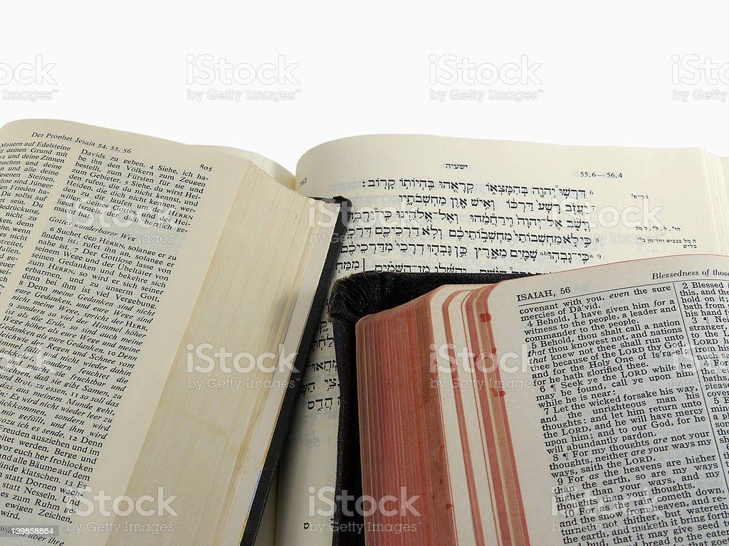 Bible passage in three languages stock photo