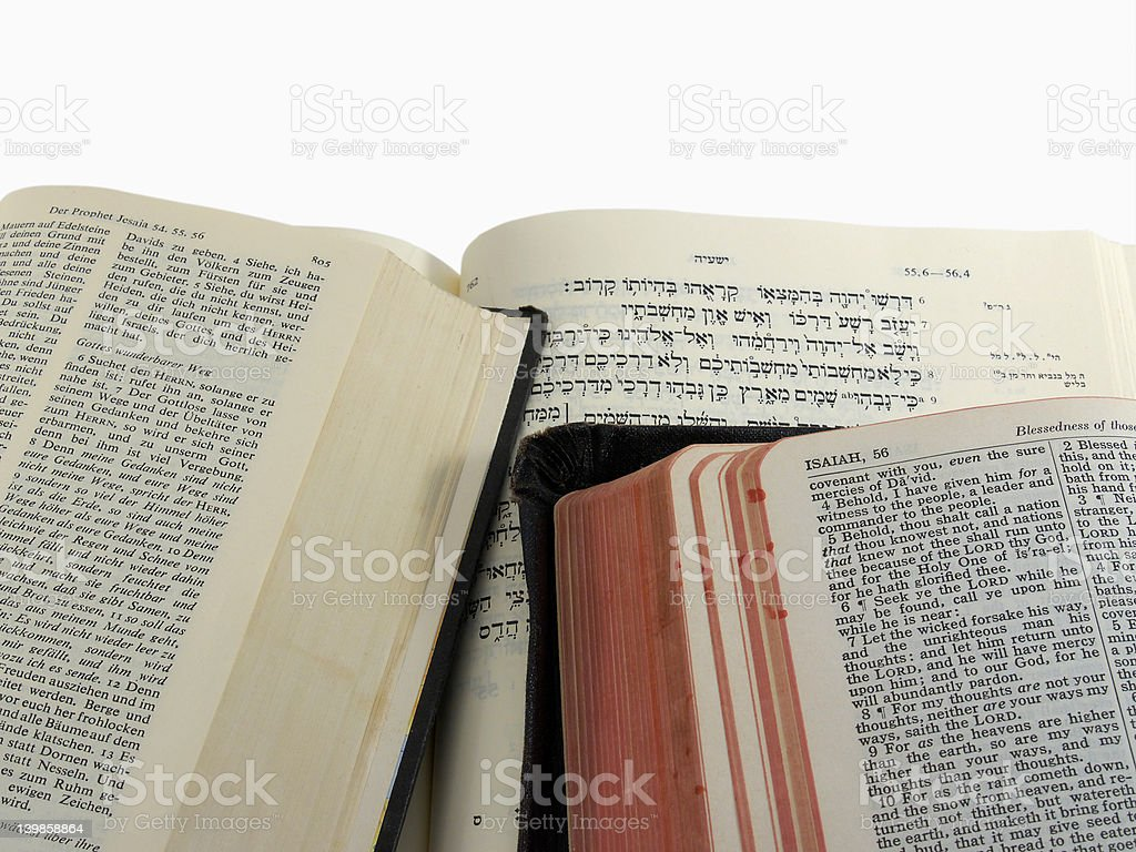 Bible passage in three languages stock photo