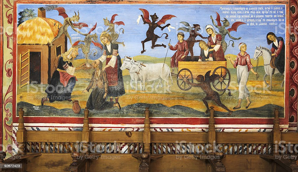 Bible scene mural from Rila monastery stock photo