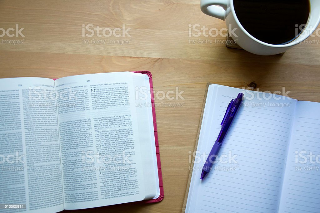 bible study in the morning stock photo