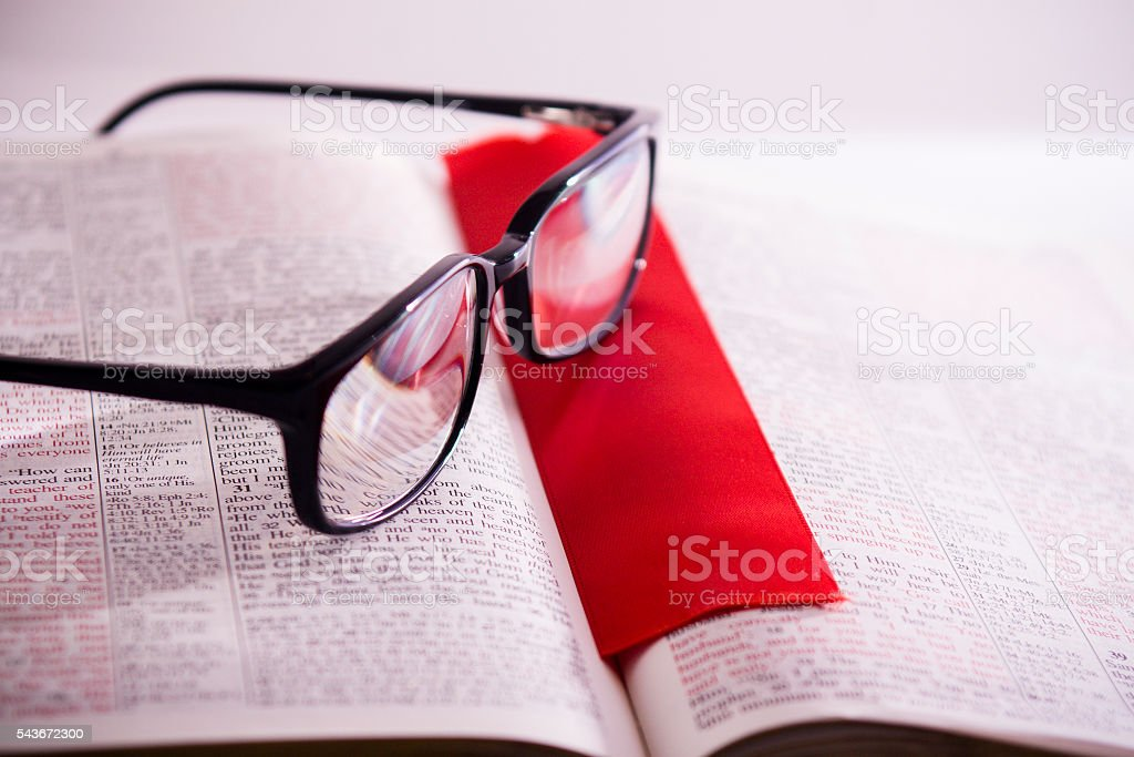 Bible Study with Glasses and Bookmark stock photo