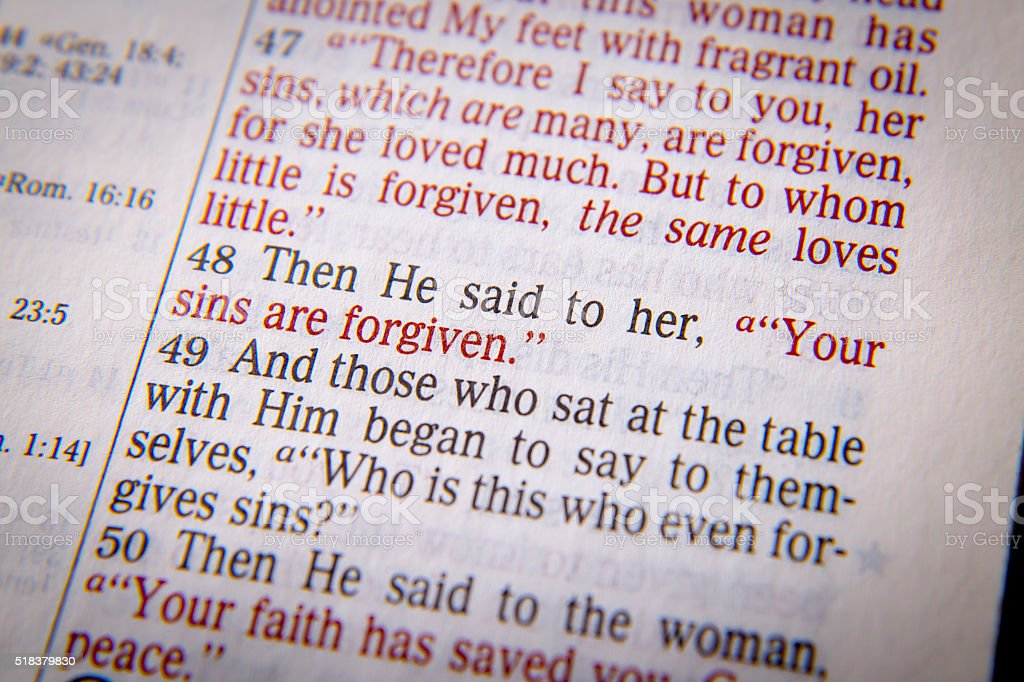 Bible text - YOUR SINS ARE FORGIVEN stock photo