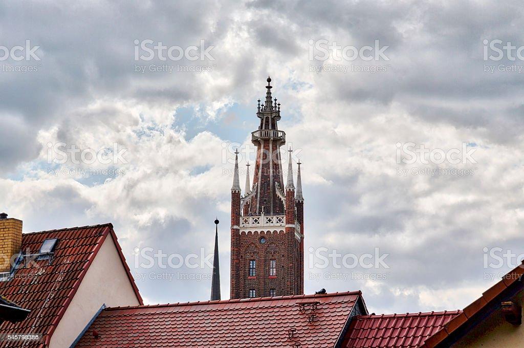 Bible tower of St. Petri Church stock photo
