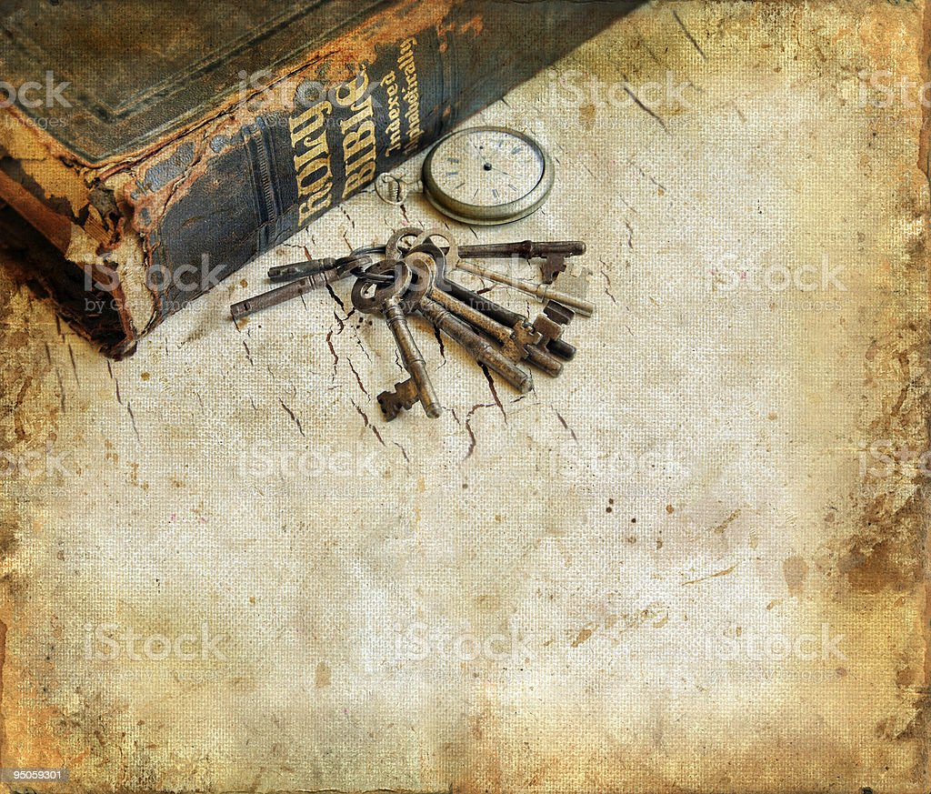 Bible Watch and Keys on a Grunge Background stock photo