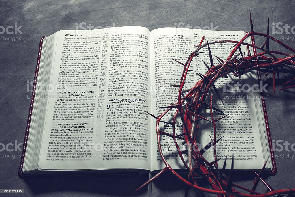 Bible with a crown of thorns. ( Christianity Concept ). stock photo