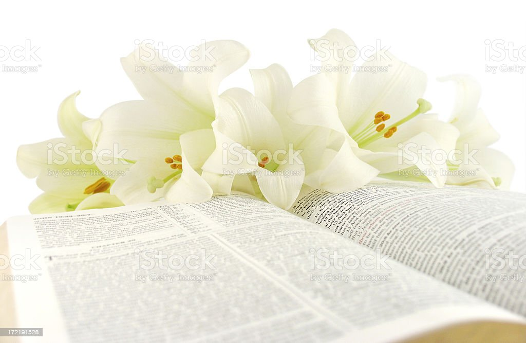 Bible with Easter Lilies (KJV) royalty-free stock photo